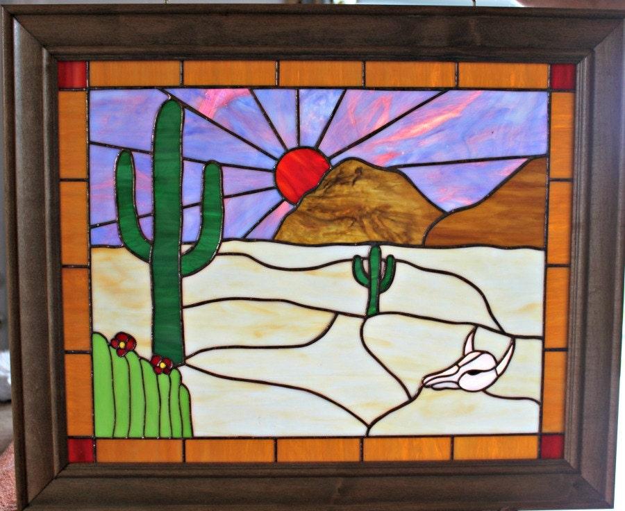 stained glass window panel desert framed