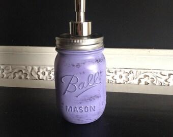 "Purple ""Shabby Chic""  Ball Mason Jar Soap Dispenser or Toothbrush Holder"