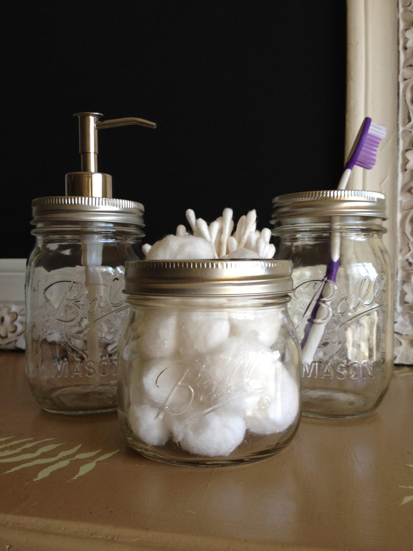 clear mason jar bathroom set. Black Bedroom Furniture Sets. Home Design Ideas