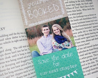 Save the Date Bookmarks - Any Event! FREE SHIPPING. Literary, Library Weddings-Storybook, book, fairytale.Custom colors, text.PDF or Printed