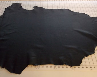 Black pigskin leather hide - 7.2 square feet