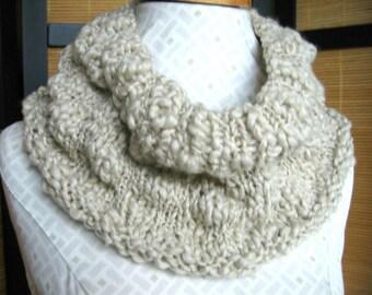 Hand knit soft oatmeal color cowl, wool acrylic blend boho cowl, lumpy bumpy womans fashion collar, neutral color natural fiber neckwear