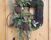 Wine Corks on a Succulent Moss Wreath