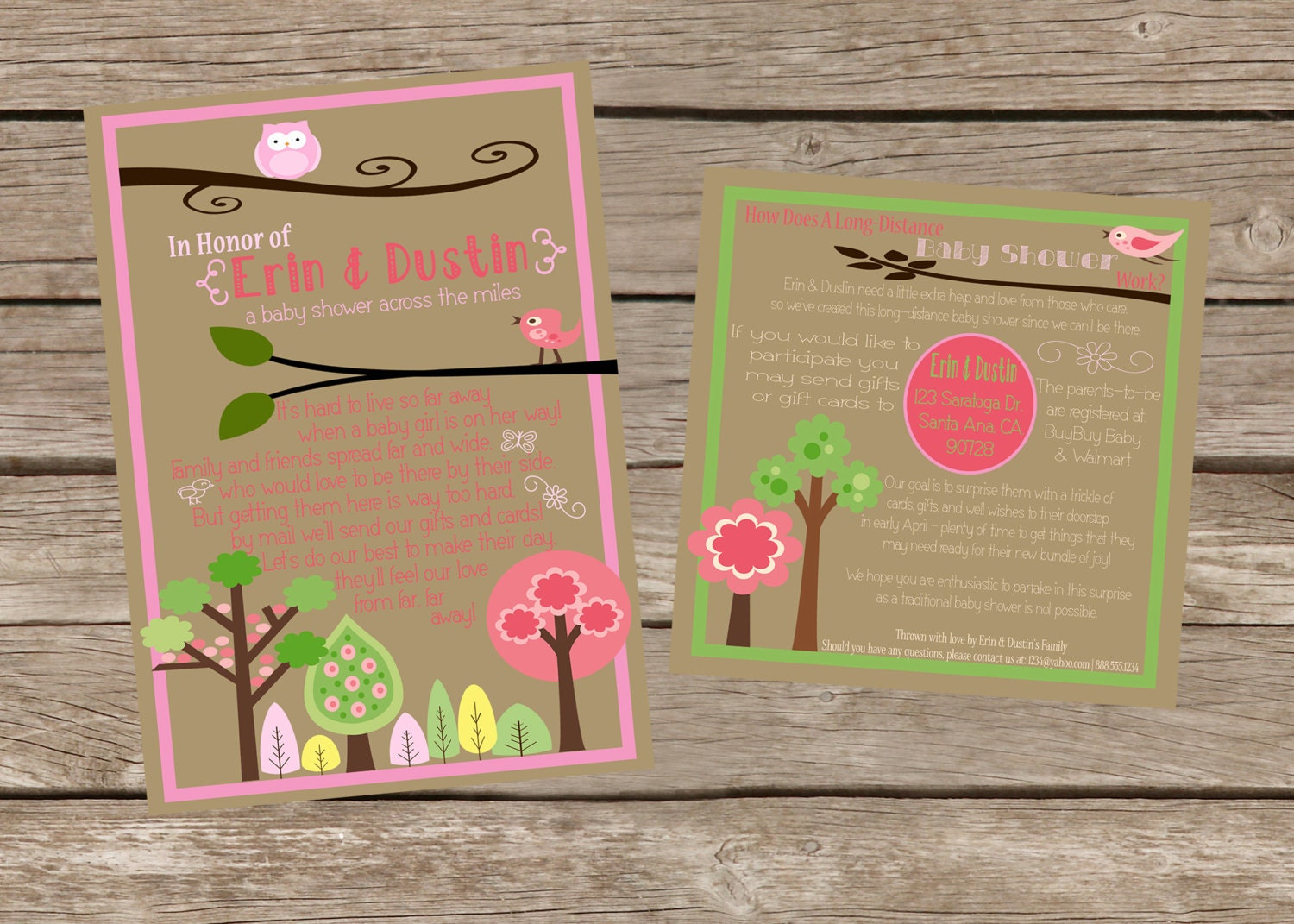 long distance girl baby shower 5x7 invitation and 5x5 insert