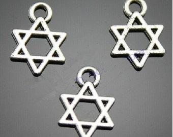 Antique Silver tone  Six Pointed Star Pendant Charm Finding