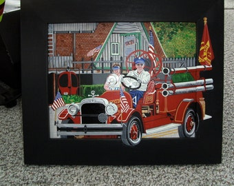 FRED & HIS SEAGRAVE; original  approx. 14x17 inc. frame; acrylics on board