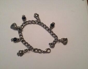 Vintage Silver Textured Charm Bracelet Costume Jewelry