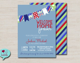Baby Boy Shower adoption Invitation, Blue Red  - PRINTABLE DIGITAL FILE - 5x7
