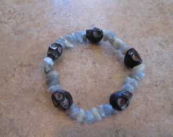 Crystal Skull Bracelet with Labradorite
