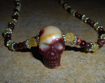 Mookaite Crystal Skull Necklace