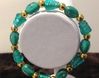 bracelet.Lampwork glass oval features.