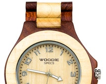 Handmade Wooden Watch Made From 100% Natural Maple Wood and Red Sandalwood.