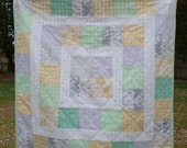 Green, yellow, gray baby boy quilt