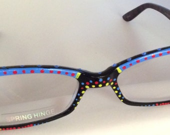 "Hand Painted Reading Glasses ""Cayman Blue Dot's""....each pair custom made and come in all strengths"