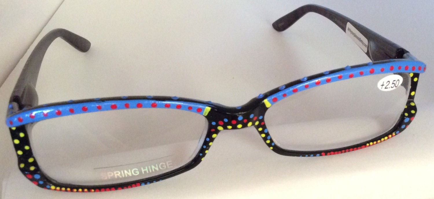 Eyeglass Frames Paint : Hand Painted Reading Glasses Cayman Blue