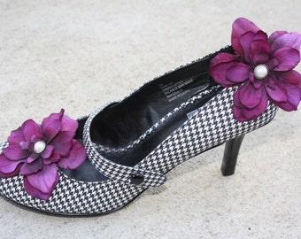 Flower Shoe Clips-Toddler Flower Shoe Clips-Women/Bridal Flower Shoe Clips-Purple/Pearl