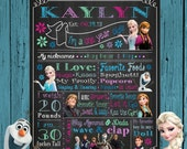 Disney Frozen Elsa Olaf Anna  chalk board First Birthday Chalkboard Printable Birthday Chalkboard Poster Any Size Personalized  Printables