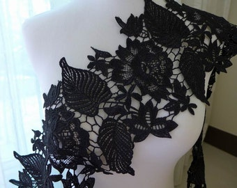 "Black lace trim, venice lace, black roses trim, DIY wedding bridal dress costumes supply, 7.1"" wide one yard"
