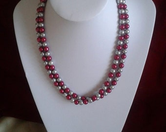 necklace made using red and silver glass pearl beads