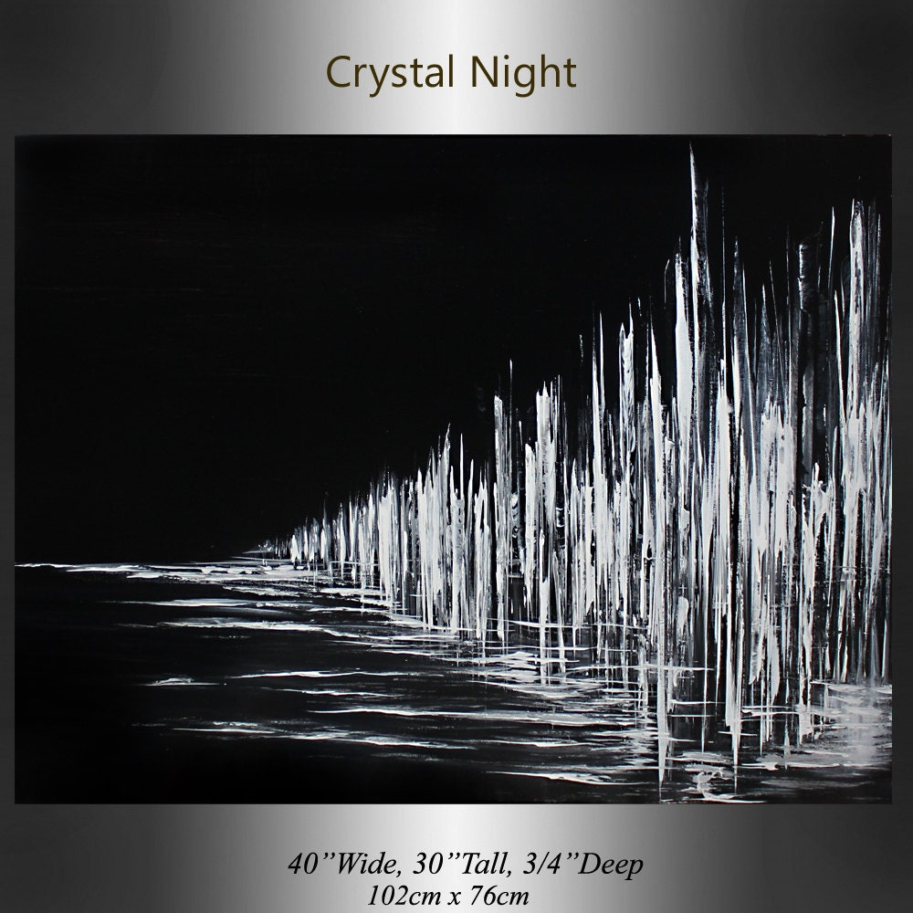 Minimalist black white art crystal midnight night painting for Abstract painting on black canvas