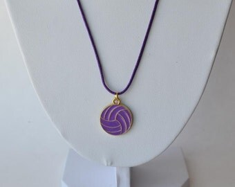 Purple Volleyball necklace with gold plated purple enamel volleyball charm on nylon cord
