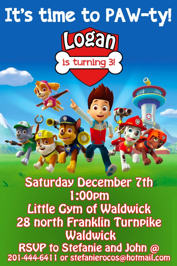 Inventive image throughout free printable paw patrol invitations