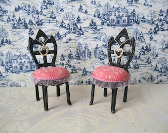 Miniature chairs handpainted for dollhouses