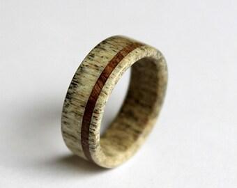 Deer Antler Ring, Antler Ring, Wooden Ring, Antler Ring Inlaid With Oak Wood