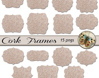 Digital CorkBoard Frame Clipart, Cork Texture Frames, Printable Cork Board Frames, Digital Cork Board Texture Frames, Cork Texture Labels