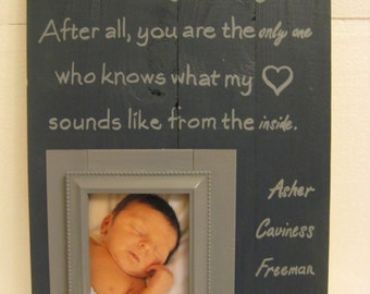 Customizable Wood Photo Frame with Saying