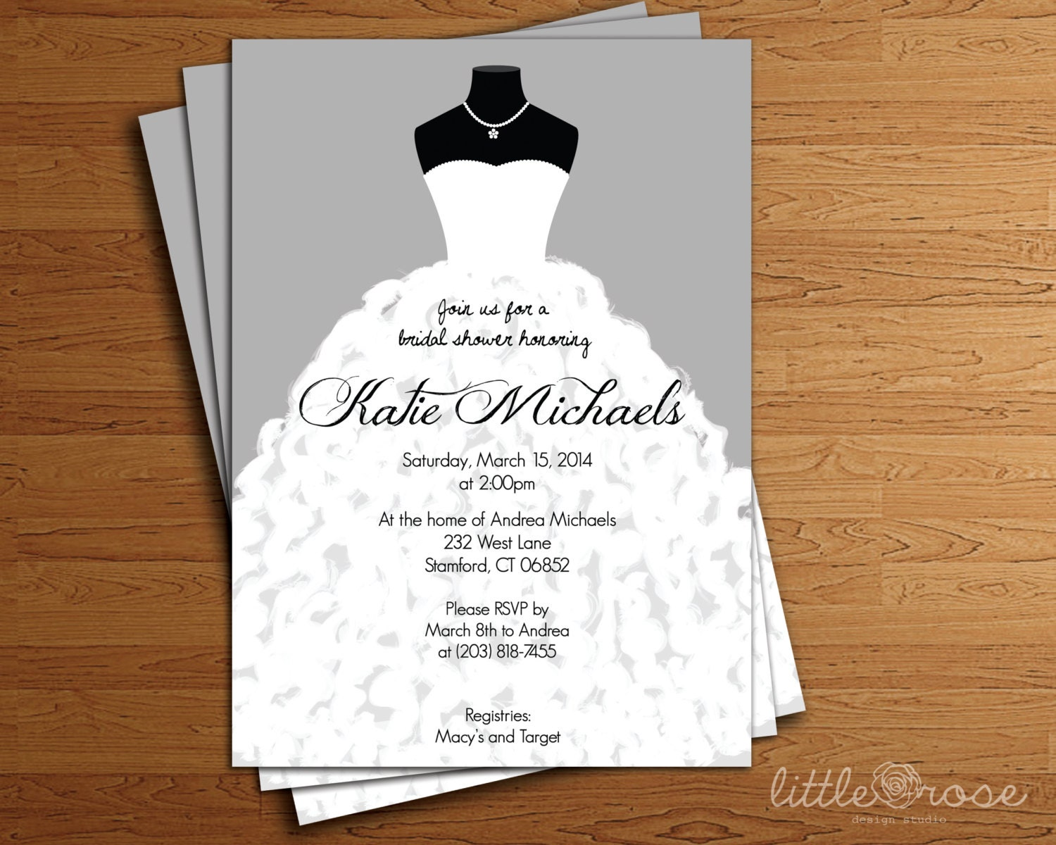 Wedding dress bridal shower invitation bridal shower invite for Dress for wedding shower