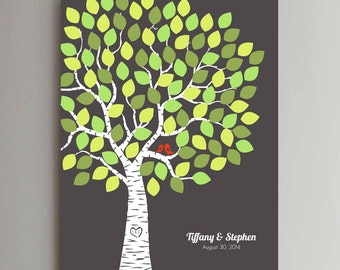 100 Guest Wedding Guest Book Wedding Tree Wedding Guestbook Alternative Guestbook Poster Wedding Guestbook Poster - Dk Gray Green Leaves