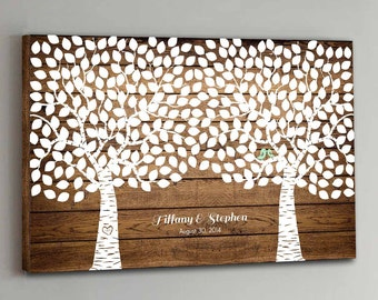 300 Guest CANVAS Wedding Guest Book Wood Two Double Tree Wedding Guestbook Canvas Alternative Guestbook Canvas Wedding Guestbk - Wood design