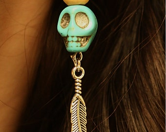 Skull Feather Earrings (Pair)