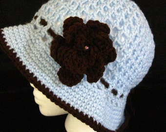Light blue and brown cloche hat with rose #86