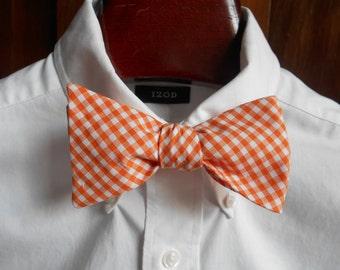 Bow Tie - Tennessee Orange Gingham - Men's self tie