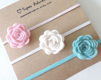 Felt flower headbands Baby headband set You Pick