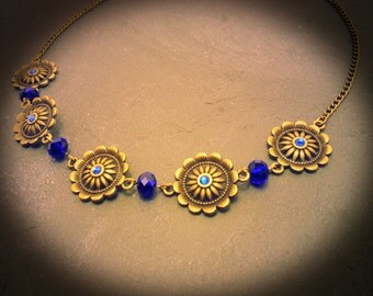 Vintage Headband / head jewel Sapphire