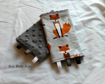 Baby Carrier Teething Pads-Reversible Strap Cover- Grey Fox and the Houndstooth/Charcoal Minky Drool Pads