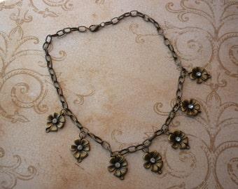 ANTIQUE GOLD FLORAL charm necklace