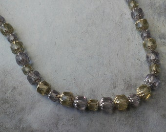 CZECH CRYSTAL NECKLACE with pale lilac and moss green crystals