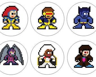 8-bit X-Men 10 Pack Vinyl Stickers Megaman Style Marvel Comics Wolverine Cyclops Gambit