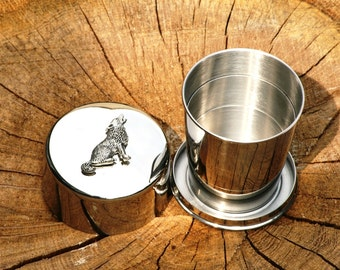 Wolf Collapsable Folding Metal Stirrup Shot Cup Gift