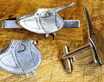 Horse Saddle Cufflinks & Tie Tack Slide Clip Mens Saddlery Tack Gift Set