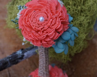 Coral Boutonniere, Sola Flower Boutonniere, Keepsake Boutonniere, Beach Weeding, Summer wedding