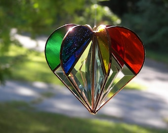 Stained Glass Heart Rainbow, Rainbow Heart, Bevel Heart, Rainbow suncatcher, Stained glass Suncatcher, Heart Suncatcher