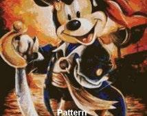 Mickey Mouse Pirate. Cross Stitch Pattern. PDF Files.