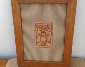 faux vintage sampler 'cat abc'