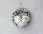 Provencal wreath, hand-sewn heart, a delicate gray-pink wreath, home decoration, gift for wedding.