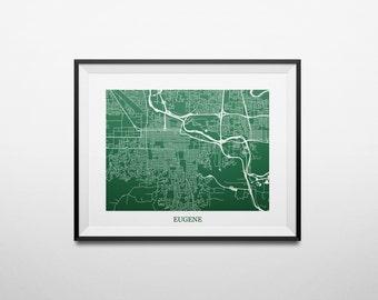 Eugene, Oregon Abstract Minimalist Street Map Print